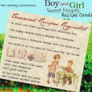 Wedding Favors Recipe Cards Boy and Girl Theme