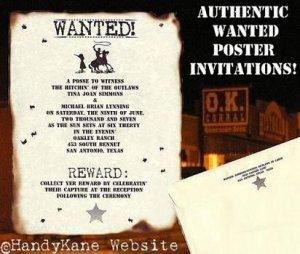 Wedding Invitations Scrolls Cowboy Texas Western