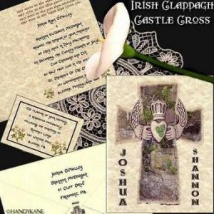 Irish Claddagh Cross Shamrock Wedding Invitations Cards