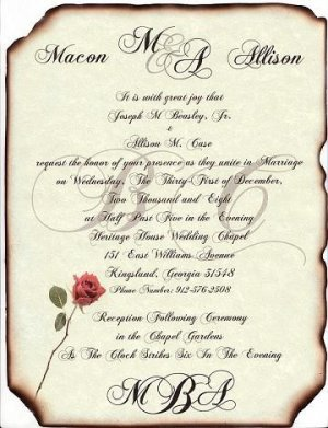 Scroll Wedding Invitations Love Letter Theme style B