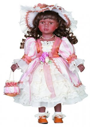 """16"""" Black Collectible Porcelain Baby Doll _Jetta_D16-2041"""