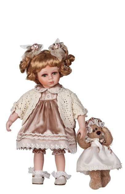 """14"""" Collectible Porcelain Baby Doll With Toy Bear _ Esther_D14-2044"""