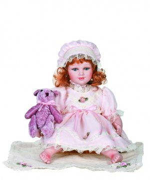 """12"""" Collectible Porcelain Baby Doll With Toy_ Nina_D12-2037"""
