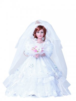"16"" Collectible Porcelain Wedding Doll_EUGENIE_Bridal_D16-4512"