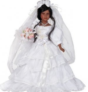 "16"" Black Bridal Porcelain Doll_Ciara_D16-4524"