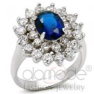 Fashion Jewelry, Ladies Ring, Brass, Rhodium,With Sapphire Stone