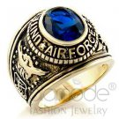 Fashion Jewelry, Men's Airforce Ring, With Synthetic,Brass,Gold