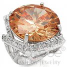 Fashion Jewelry Ladies Ring With Multi Color AAA Grade CZ, Champagne Color,  Brass, Rhodium