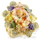 Fashion Jewelry Ladies Ring With Multi Colored AAA Grade CZ,Brass,Gold