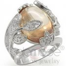 Fashion Jewelry Ladies Ring With AAA Grade CZ, Silver,High-Polished