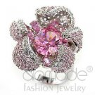 Fashion Jewelry Ladies Ring With AAA Grade Rose CZ,Brass,Rhodium