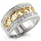 Sterling Silver 925 Fashion Jewelry Ring , Two Tone ,With Clear Cubic Zirconia Stone