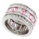 Sterling Silver 925 Fashion Jewelry Ring With Rose and Clear Cubic Zirconia Stone