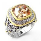 Sterling Silver 925 Fashion Jewelry Ring , Two Tone, With Champagne  Cubic Zirconia Stone