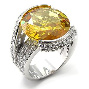 Sterling Silver 925 Fashion Jewelry Ring With Topaz  Cubic Zirconia Stone, Rhodium Plating