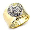 Sterling Silver 925 Fashion Jewelry Ring , Two Tone, With Clear Cubic Zirconia Stone