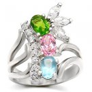 Sterling Silver 925 Fashion Jewelry Ring With Multi Color Cubic Zirconia Stone, High Polish