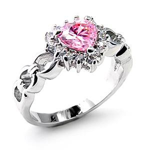 Sterling Silver 925 Fashion Jewelry Ring With Rose  Cubic Zirconia Stone, Rhodium Plating