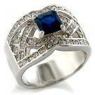 Fashion Jewelry Ring With Montana  Cubic Zirconia Stone, Rhodium Plating
