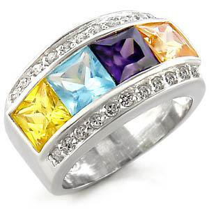 Sterling Silver Fashion Jewelry Ring With Multi Color  Cubic Zirconia Stone, High Polish