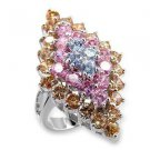 Fashion Jewelry Ring With Multi Color  Cubic Zirconia Stone, Rhodium Plating