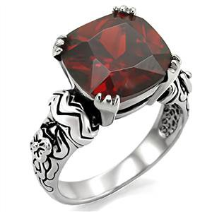Stainless Steel Garnet CZ Ring_RI0T-05794