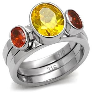 Stainless Steel With Multi Color CZ Ring_RI0T-05876