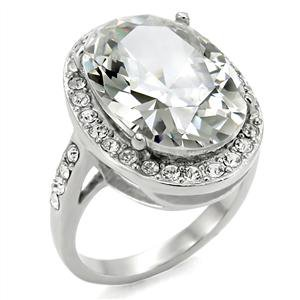 Stainless Steel Lady's Engagement Ring W/ Clear Cubic Zirconia, Sz 5,6,7,8,9,10
