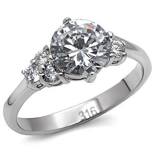 Stainless Steel Lady's Engagement Ring W/ Clear Round CZ, Sz 5,6,7,8,9,10