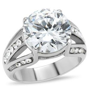 5 Ct Clear Round CZ Stainless Steel Wedding , Cocktail Ring, Size 5,6,7,8,9,10