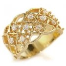 Gold Plated Cocktail Pave Band Ring With Clear Round CZ, Size 5,6,7,8,9
