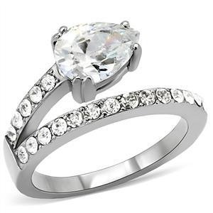 Stainless Steel Lady's Engagement Ring With Clear Pear Cut CZ, Size 5,6,7,8,9,10