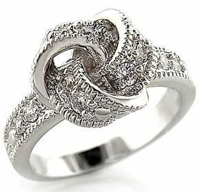 Love Knot Clear CZ Fashion Promise , Cocktail Ring, Rhodium Plated, Size 5,9, 10
