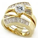 1 ct. Gold Plated Engagement Wedding Ring Set W/ Clear CZ, Size 5 ,6 ,10,11