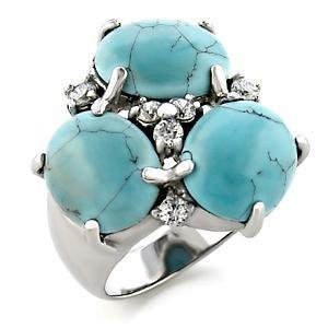 5 Carat 3 Stone Cocktail Ring With AquaMarine Synthetic Stones, Size   6 ,8,9