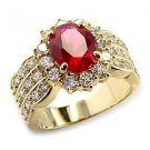3 Carat Gold Plated Ruby Oval CZ Wedding , Cocktail Ring, Size  10
