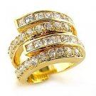 Gold Plated Clear CZ Cocktail Bridal Pave Band Ring, Size 5,6,9