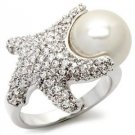 Starfish Pave CZ Cocktail Ring With White Synthetic Pearl, Size 5,6,7,8,9,10