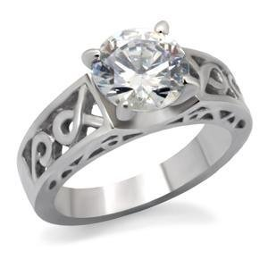 Stainless Steel Lady's Engagement Ring W/ Clear Round CZ , Size 5,6,7,8,9,10