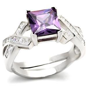 Sterling Silver Engagement Wedding Ring  W/ Amethyst Princess CZ,  Size 5,6,9,10