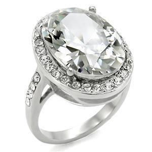 19 Ct  Stainless Steel Lady's Cocktail Ring W/ Clear Oval CZ , Sz 5,6,7,8,9,10