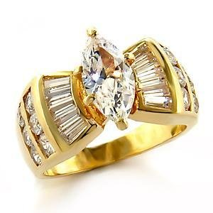 2 Carat Gold Plated Clear Marquise CZ  Wedding, Cocktail  Ring, Sz 5,6,7,8,9,10