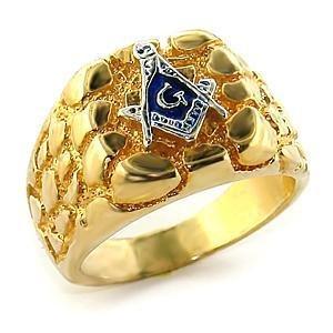 Men's Two Tone Gold Nugget Masonic Ring,  Size  8,9,10,11