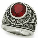 "Men's Stainless Steel ""United States Marines"" Siam CZ Military Ring Size 8,9, 13"