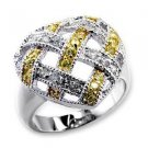 Pave Heart Topaz & Clear CZ Two Tone Cocktail, Promise  Ring, Size 5,6,7,8, 9,10