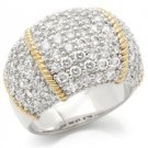 Two Tone Dome Cocktail Pave Ring With Clear Round Cut  CZ, Size  9,  10