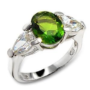 3 Carat Peridot Oval CZ Sterling Silver 925 Wedding Cocktail Ring,  Size  6 9,10