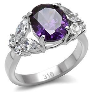 Stainless Steel Lady's Ring W/ Oval  Amethyst CZ W/ Butterflys Size 5,6,7,8,9,10