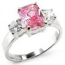 1.5 Carat  Pink Emerald  CZ Sterling Silver Wedding, Cocktail Ring, Size 7