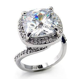 10 Carat Clear Cushion Cut CZ Wedding, Cocktail Ring, Size 5 ,7,8,9,10